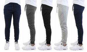 Men's French Terry Joggers With Zipper Pockets (4-Pack)