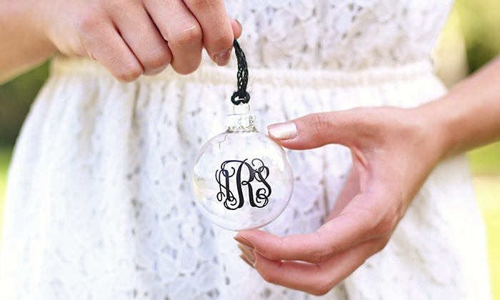 Morgann Hill Designs: One, Two, or Three Monogrammed Glass Ornaments from Morgann Hill Designs (Up to 60% Off)