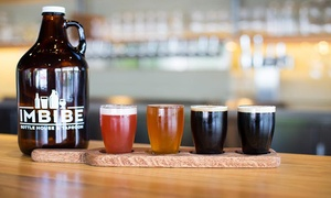 Imbibe Bottle House & Taproom: CraftBeer Flights with Growlers and Fills for Two or Four at Imbibe Bottle House & Taproom (Up to 56% Off)