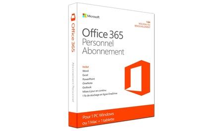 Office 365 Personnel pour 1 poste PC ou Mac pendant 1 an à 39,90€ (42% de réduction), livraison offerte