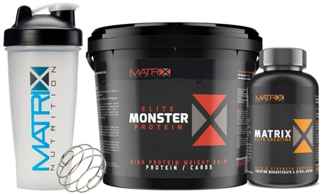 Matrix Elite 2.25kg or 5kg Monster Protein Powder with 240 Creatine Tablets and Shaker in Choice of Flavour