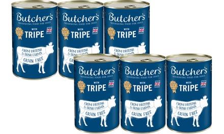 Six Cans of Butchers Tripe Mix 1200g
