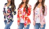 Women's Floral Spring Draped Cardigan. Plus Sizes Available.