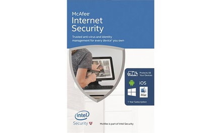 McAfee Internet Security Anti-Virus Software for Unlimited Devices for One Year