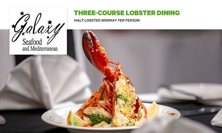 3-Course Lobster Meal for 1 ($35), 2 ($69), 4 ($129) or 10 People ($320) at Galaxy Seafood & Mediterranean Restaurant