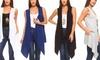 Isaac Liev Women's Long Asymmetric Lightweight Vest with Pockets: Isaac Liev Women's Long Asymmetric Lightweight Vest with Pockets