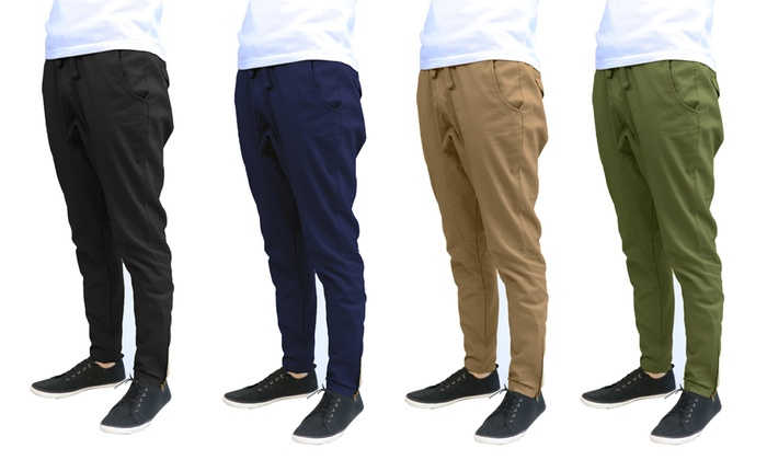 Men's Slim-Fit Cotton Twill Joggers with Bottom Zipper