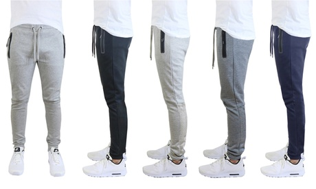Men's Tech-Fleece Cotton-Blend Jogger Sweatpants with Zipper Pockets