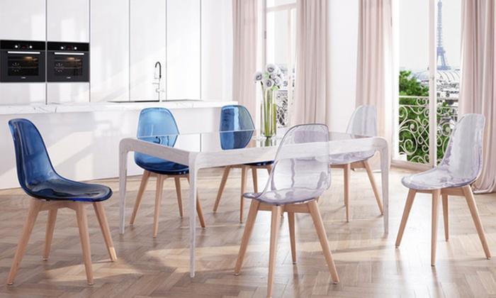 2 chaises scandinaves plexi - Chaise Scandinave Transparente