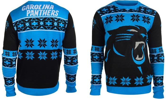 Nfl Unisex Big Logo Ugly Sweater Carolina Panthers Groupon