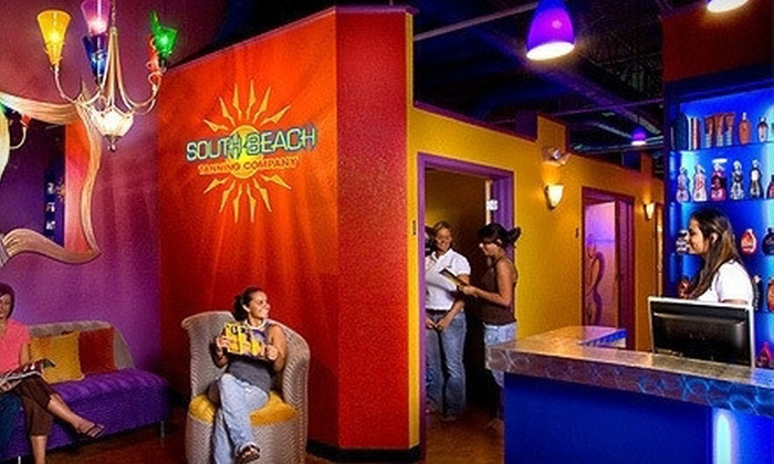 South Beach Tanning Company - Multiple Locations: 3 Spray Tans or Month of Unlimited UV Tanning at South Beach Tanning Company (Up to 72% Off). Two Locations Available.