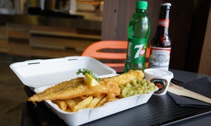 Orange Fish: Fish and Chips with Beer or Wine and a side dish for One or Two at Orange Fish (35% Off)