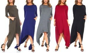 Isaac Liev Women's 3/4-Sleeve Shark Bite Dress. Plus Sizes Available.