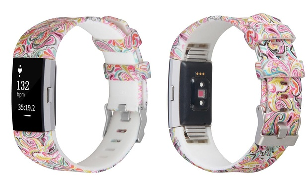 Printed Silicone Replacement Bands for Fitbit Charge 2: One ($12) or Two ($16)