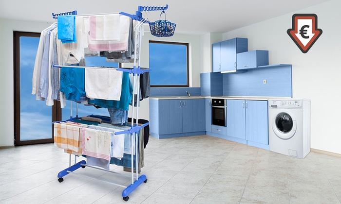 Groupon Goods Global GmbH: Stendibiancheria verticale XXL a 3 livelli con cestino e 30 mollette a 29,99 € (77% di sconto)