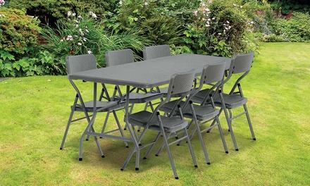 table pliante grise effet tress groupon shopping. Black Bedroom Furniture Sets. Home Design Ideas