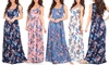 Women's Ruched Floral Maxi Dress: Women's Ruched Floral Maxi Dress
