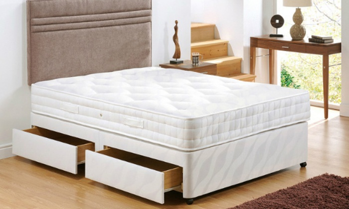 Manhattan divan bed base groupon goods for Cheap divans with drawers