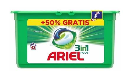 Jusquà 12 paquets de capsules de lavage Ariel trois en un