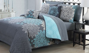 Reversible Printed Quilt with Sheets and Throw Pillows (7- or 9-Piece)