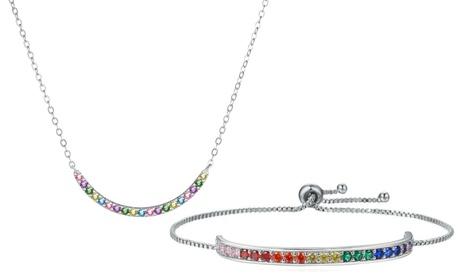 Conjunto de collar y pulsera arcoíris con incrustaciones de cristales de Swarovski®