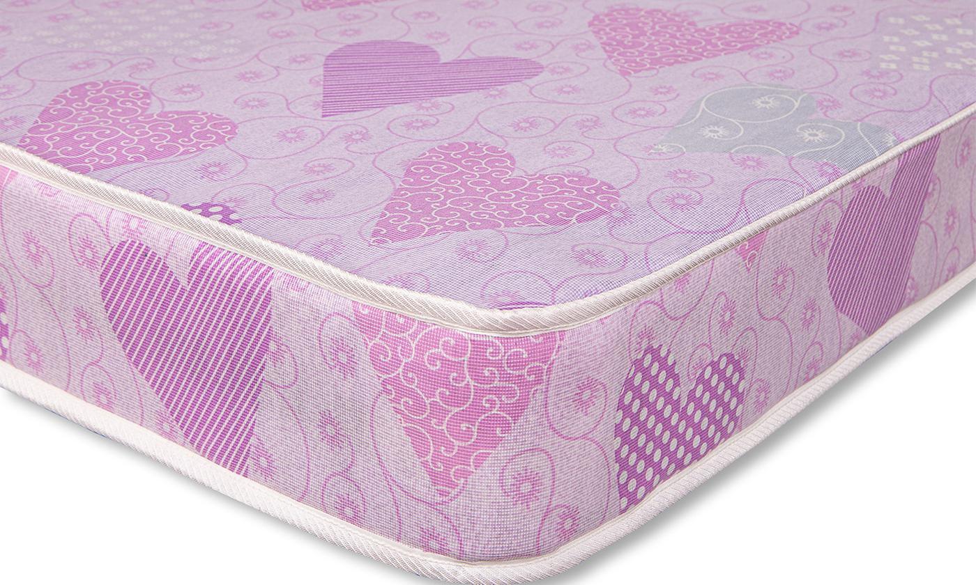 Pink Hearts Open Coil Sprung Mattress