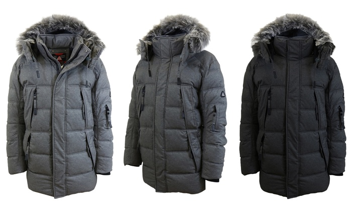 26171a00d0a Spire By Galaxy Men's Heavyweight Parka with Detachable Hood | Groupon