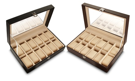 Leather 12-Compartment Watch Box