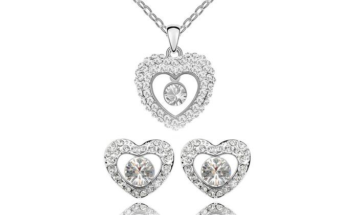 Collier ou/et boucles doreilles cœur de cristal orns de cristaux Swarovski® dès 990€ (jusquà 86% de rduction)