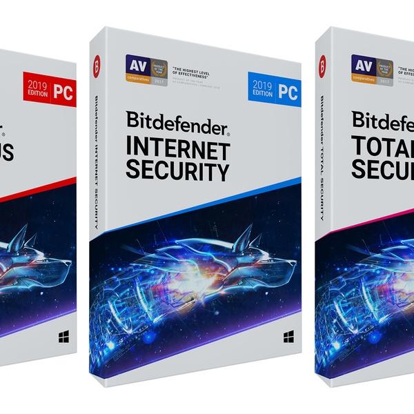 Bitdefender Antivirus Plus, Internet Security or Total Security 2019 Edition