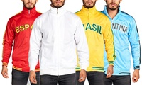 Men's Country-Themed Print or Solid Zip-Up Track Jacket