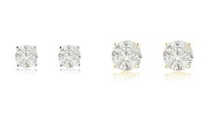 1/4 - 1 1/2 CTTW Diamond Solitaire Earrings in 14K Gold by DiamondMuse
