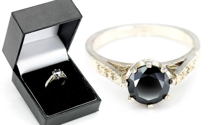 bague en argent diamant noir