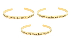 Stainless Steel 5mm Inspirational Cuff in Gold Plating by Pink Box