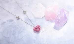 Elements of Love Puff Heart Necklace Made with Swarovski Crystals