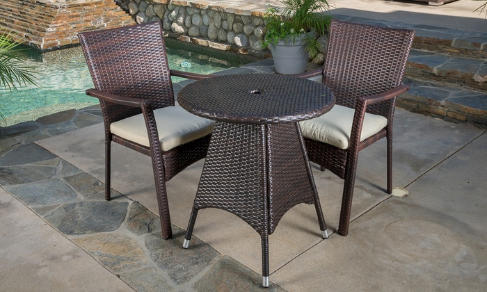 Outdoor Wicker Bistro Set (3-Pc) | Groupon Goods