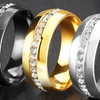 Men's Eternity Crystal High Polish Rings in Stainless Steel