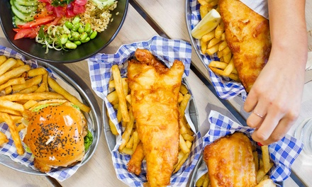 Choice of Main with Wine or Beer: 1 ($19) 2 ($36), 4 ($69) or 6 People ($99) at Wild Fish and Chips (Up to $180 Value)