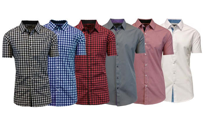 Men's Short Sleeve Plaid or Solid Button Down Shirts
