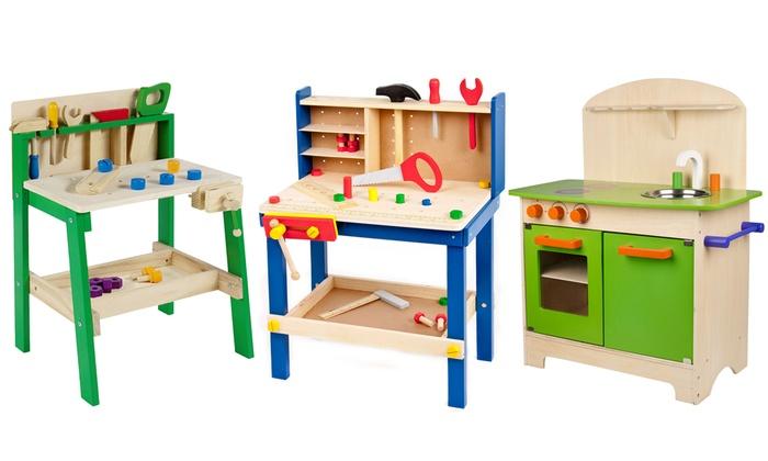 Kids 39 wooden workshop groupon goods for Kitchen set groupon