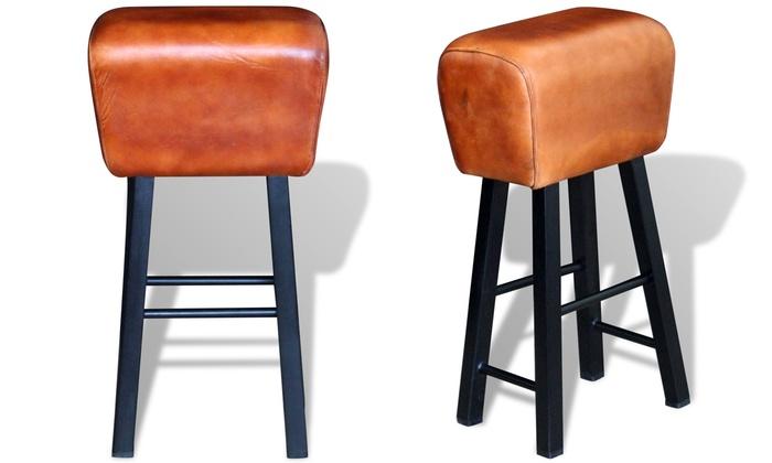 jusqu 39 18 tabouret de bar en cuir v ritable groupon. Black Bedroom Furniture Sets. Home Design Ideas