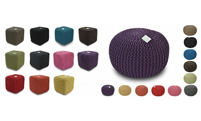 Handmade Moroccan Knitted Pouffe Footstool from £24.98
