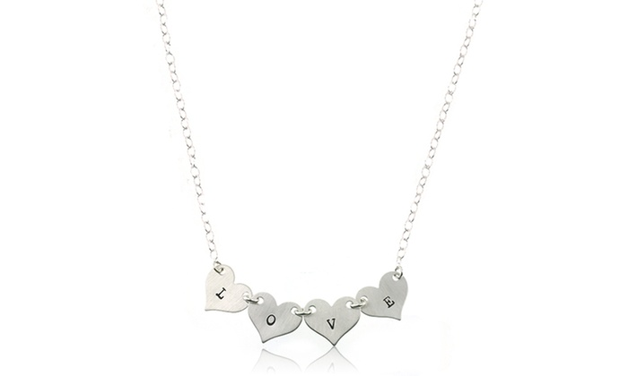 Hannah Design: Sterling Silver Personalized Heart String Necklace from Hannah Design