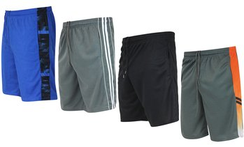 Real Essentials Boys' Mesh Active Shorts with Pockets (5-Pack)