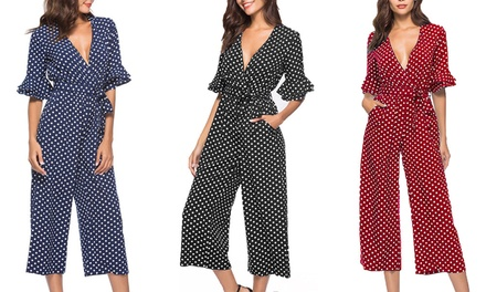 Mid Sleeve Polka Dot Jumpsuit: One $19.95 or Two $35