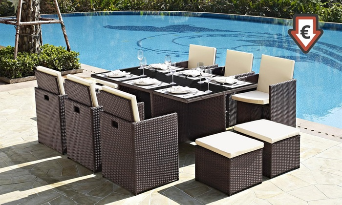 salon de jardin encastrable 8 ou 10 places groupon. Black Bedroom Furniture Sets. Home Design Ideas