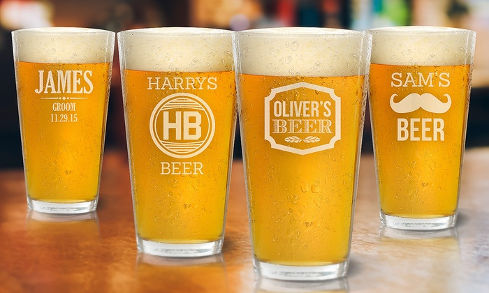 Personalized 16oz  Beer Glasses from Fabness (Up to 72% Off)
