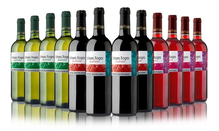 12 Bottles of Red, White, Rose or Mixed Wine for £44.99 With Free Delivery (68% Off)