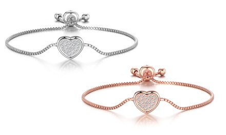 One or Two Philip Jones Pave Heart Friendship Bracelets with Crystals from Swarovski®
