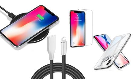 Kits complets pour iPhone 6/7/8/X – Chargeur Qi – Verre trempé – Câble ultra résistant – Écouteurs. Livraison offerte